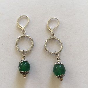 Green adventurine and silver plated earrin…